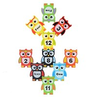 KS 12pcs木製子Stacking Toyフクロウ図形Stacking BlocksおもちゃバランスゲームToy Set for Kids理想的なクリスマスギフト誕生日ギフトfor...
