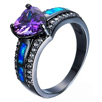 KEM Charm Female Blue Fire Opal Heart Ring Elegant Purple Ring Black Gold Filled Jewelry Vintage...