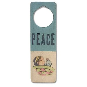 Tree By Kerri Lee Wooden Doorknob Sign, Peace by Tree by Kerri Lee