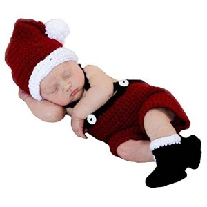 Soft Crochet Knit Baby Photograph Props,cute Baby Xmas Outfits,hat + Cloth + Shoes,(santa Claus) by...