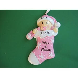 Baby Girl's First Christmas Ornament Personalized by Polar X