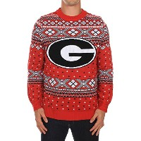 Men 's Georgia Bulldogsセーター – Officially Licensed University of Georgiaクリスマスセーター M レッド TE-UNIM10M