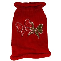 Christmas Bows Rhinestone Knit Pet Sweater SM Red