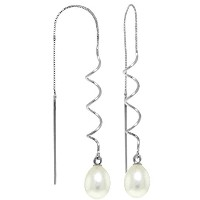 K14 White Gold Threaded Earrings with Freshwater-cultured Pearl