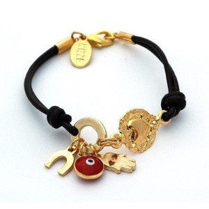 ブラウンレザーEvil Eye Bracelet for Good Luck、保護とLove
