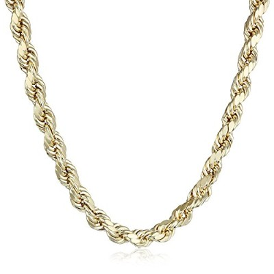 "Curated 14k Yellow Gold 5.5mm Hollow D-Cut Rope Chain Necklace, 24"" 40HDCI-24 メンズ [並行輸入品]"
