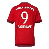 Adidas LEWANDOWKI #9 Bayern Munich Home Soccer Jersey (Authentic name and number of player)2015-16...