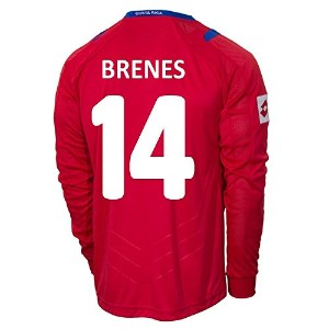 Lotto BRENES #14 Costa Rica Home Jersey World Cup 2014 (Long Sleeve)/サッカーユニフォーム コスタリカ ホーム用 長袖...