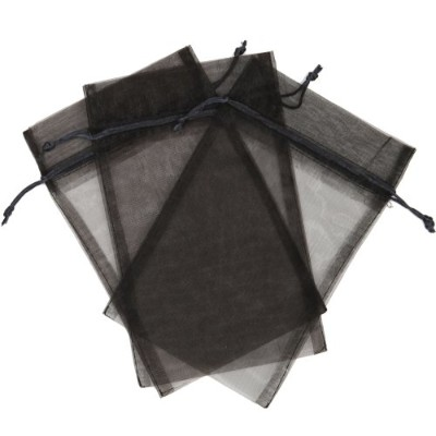 30 Designer Organza Fabric Gift Bags and Gift Pouches Party Gift Bags Black 5.5 x 9 by Bucasi
