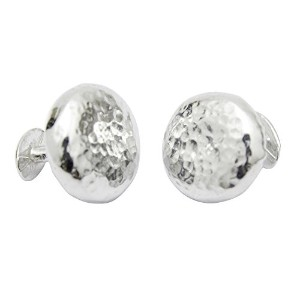 10 Year Anniversary – Chunky Beaten Round Tin Cufflinks