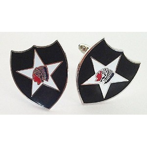 US Army 2nd Infantry Division Cuff Links withギフトボックス