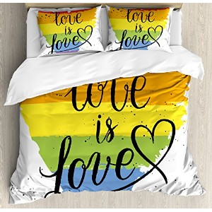 Pride Decorations布団カバーセットby Ambesonne、LGBT Gay Lesbian Parade Love Is Love Hand Writingペイントストローク芸術的...