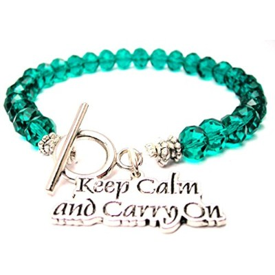 Keep Calm and Carry OnクリスタルToggle Bracelet Inエメラルドグリーン