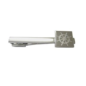 Silver Toned Etched Nautical Helm Squareタイクリップ