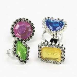 1 X Lot of 72 Colorful Rhinestone Rings Girl Party Favors by Oriental Trading [並行輸入品]
