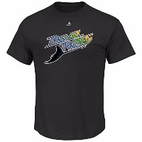 MLB Tampa Bay Rays公式チームロゴメンズCooperstown Tシャツ、大