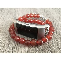 Red Agate Stones Bracelet for Fitbit Charge 2 Fitness Tracker Natural Glass Stones Fitbit Charge 2...