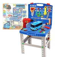 The Little Bus Tayo 電動ドライバーがある用具テーブル (60以上のツール) Electric Tools Table Playset (with Electric driver)...