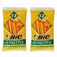 (Pack of 2) Bic Single Blade Sensitive Skin Shavers - 12 in Pack [Total 24] by BIC
