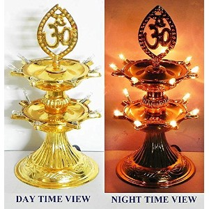 Buycrafty 2 Layer-Electric Gold Lamp Deepak Rice Light Lamp Xmas Christmas Diwali Home decoration...