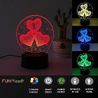 3d Lamps Optical Illusion挿入ベース7色変更部屋装飾ギフトfor Mom Dad子供女の子男の子恋人友達誕生日記念日バレンタインの日サプライズ ブルー 920014