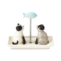 Enesco Basics Cats With Fish Salt and Pepper Shakers