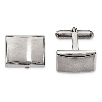 ChiselステンレススチールPolished and Brushed Cuff Links