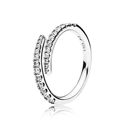 PANDORA Rings パンドラリング流れ星女性の婚約結婚指輪-Timeless Elegance, Synthetic Ruby & Clear CZ 196353CZ 58