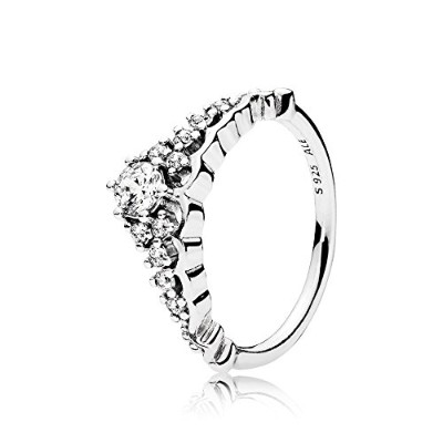 PANDORA Rings パンドラリングおとぎ話ティアラ女性の婚約結婚指輪-Fairytale Tiara Ring, Clear CZ 196226CZ 58