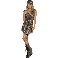 Smiffys Women's Camo Fever Army Girl Costume - Us Dress 10-12
