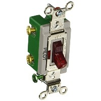 Hubbell HBL3032PL Double Pole, Toggle, Industrial Grade, 30 amp, 120/277V, Pilot Light, Red by...