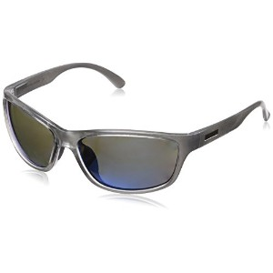 Suncloud S-RAPPUMSV Men's Silver Frame Blue Mirror Lens Wrap Polarized Sunglasses