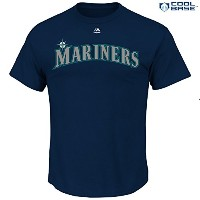 MLBメンズTeam Wordmark合成クールベースTシャツ( Small , Seattle Mariners )