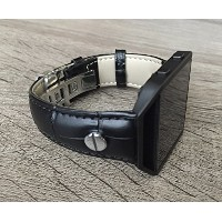 Black Leather Bracelet For Fitbit Blaze Smart Fitness Watch Handmade Adjustable Size Alligator Skin...