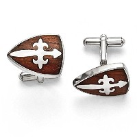 ChiselステンレススチールPolished and Wood Inlay Cuff Links src236