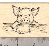Valentine 's Day Piglet withハートラバースタンプ、Baby Pig