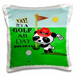 3dローズSmudgeart Designs 2016 – Typography – パンダGolfing – Typography – 枕ケース 16x16 inch Pillow Case pc...