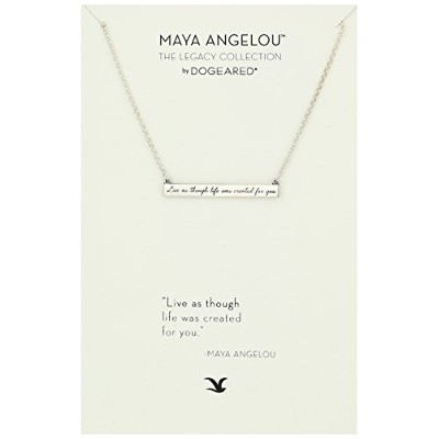 "[ドギャード]Dogeared Maya Angelou 2.0 ""Live As Though Life.."" Id Bar Quote Silver Pendant Necklace, 16"" ..."