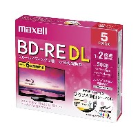 maxell 録画用BD-RE DL 50GB 2倍速 5枚 プリンタブル BEV50WPE.5S