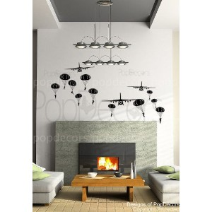 PopDecors - Paratrooper and Airplanes ( Black ) - Beautiful Tree Wall Decals for Kids Rooms Teen...