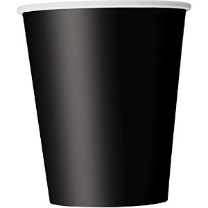 Paper Cups, 9 Ounce, Black, 8 Count by Unique Industries