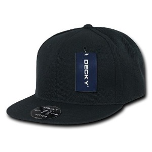 Decky RP1-PL-BLK-26 Retro Fitted Caps Black - 7.38