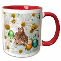 3dローズDoreen Erhardt Easterコレクション–Easter Bunny Daisy Garden with Colored卵と蝶–マグカップ 11-oz Two-Tone...