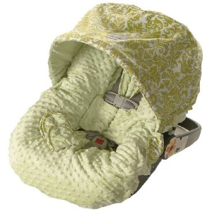 Itzy Ritzy Infant Car Seat Cover and Peek-A-Boo Pod Infant Carrier Pod Bundle, Avocado Damask by...