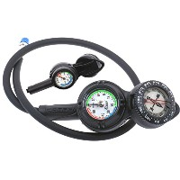 Cressi 3 Compass, Depth and Pressure Gauge Bar Diving Console - Black by Cressi