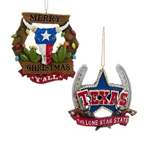 "Kurt Adler 3 "" PAINTED樹脂Western Hanging Ornament 2 / asstd : ""テキサス、The Lone Star State "" & ..."