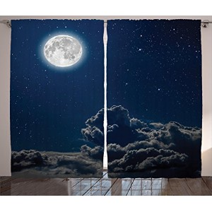 Galaxyカーテン2パネルセットby Ambesonne魔法、月と星in Midnight Sky Starry Night with Clouds Milky Wayアート印刷...