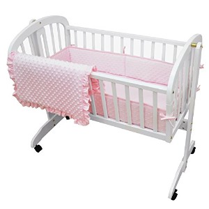 TL Care Heavenly Soft Minky Dot 3 Piece Cradle Set, Pink by TL Care