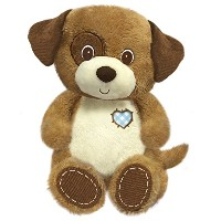 First & Main 8 Plush Stuffed Dog, White on Brown by First & Main