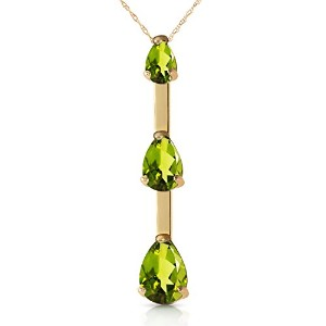 """K14 Yellow Gold 18"""" Necklace with Natural Peridots"""
